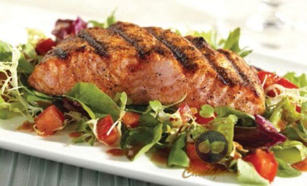 Salmon Kabob and Salad 1