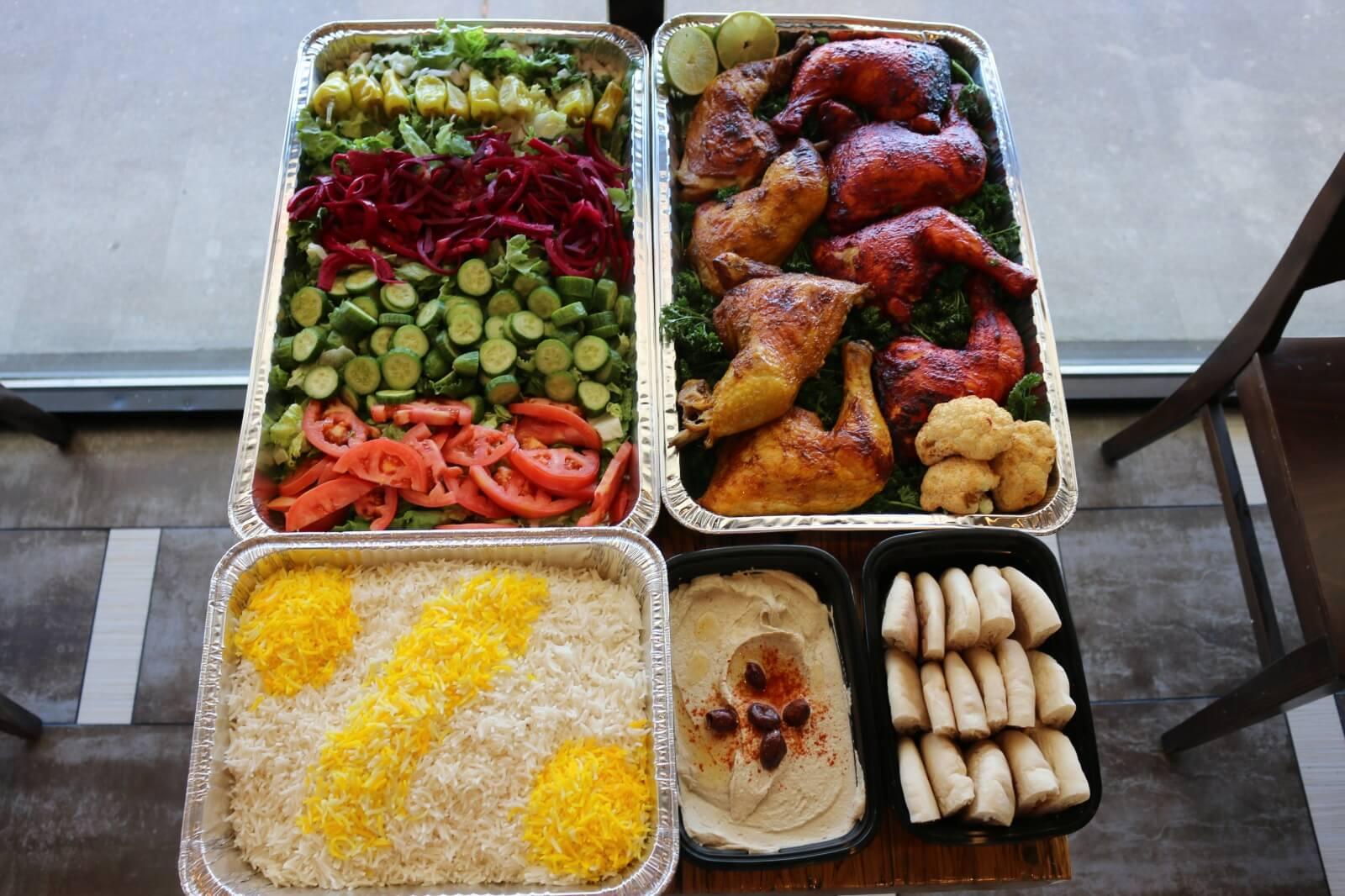 Chickpeas chicken tandoori salad and hummus package