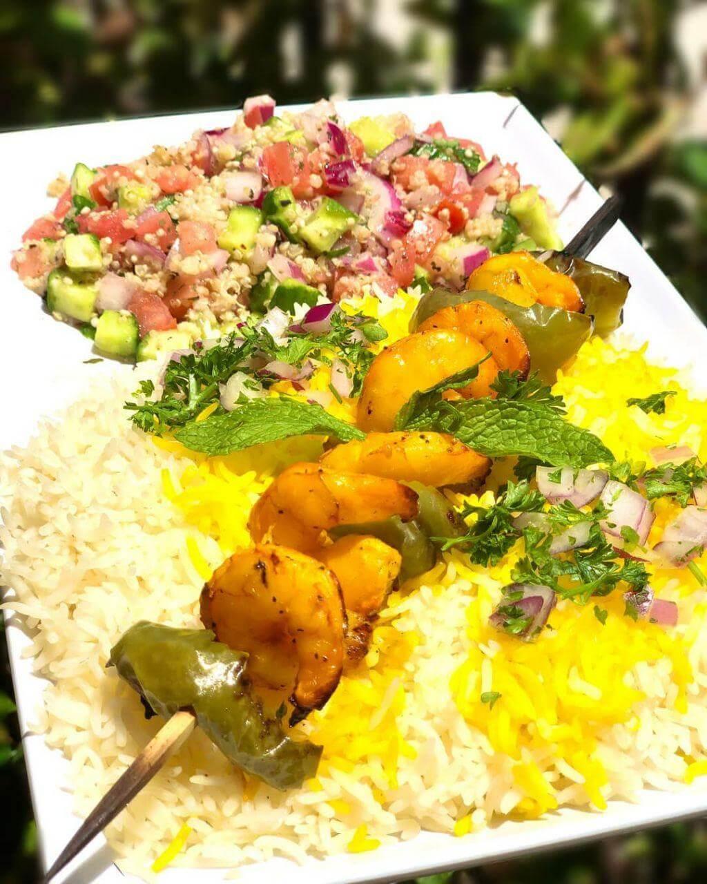 Shrimp Kabob with Quinoa salad